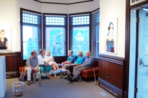 A little chit chat in the Station Gallery ticket hall while the music plays outside. Photo courtesy Station Gallery